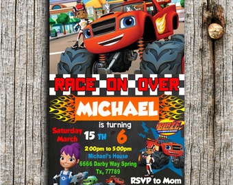 Blaze Invitation, Blaze Birthday, Blaze and The Monster Machines Invitation, Monster Machines, Blaze Party, Blaze Invite,Birthday Invitation