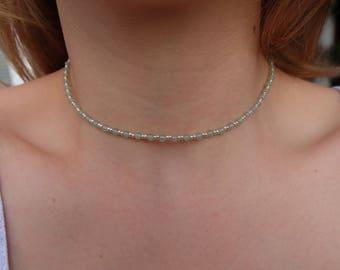 "handmade necklace ""Anumati"" with green aventurine and silver Miyuki glasbeads seedbeads elegant classy filigree"