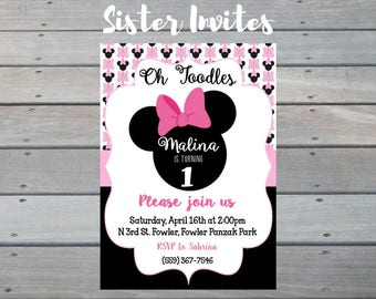 Oh Twodles Invitation, PRINTABLE Minnie Mouse Invitation, Oh Twodles Birthday, Oh Toodles Birthday, Second Birthday Girl, Two Year Old 2nd