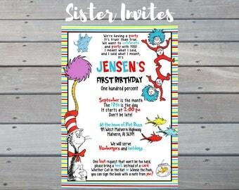 Dr. Seuss Invitation, Dr. Seuss Birthday Invitation, Dr. Seuss Birthday, Dr. Seuss Party, Dr. Seuss First Birthday