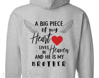A Big Piece of my Heart Lives in Heaven Sweatshirt // In Memory Shirts // Memorial Gifts //  Personalized Heaven Hoodie