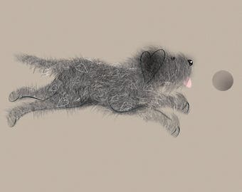 I can, I know I can... Cute and Quirky Scruffy Dog Card (Blank Inside)