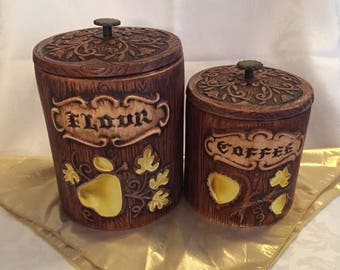 Vintage storage canisters by Treasure Craft