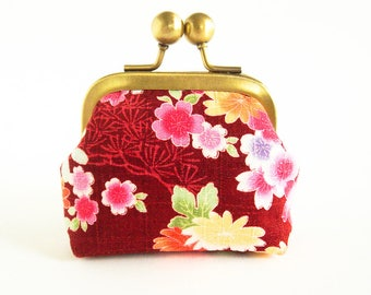 Clasp Coin Purse, Japanese Blooms Kisslock Purse, Clasp Coin Purse, Retro Coin Pouch, Ear Buds Case, Earphone Holder, Floral Jewelry Case