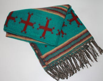 Southwest Decorative Throw Blanket - Teal/Red