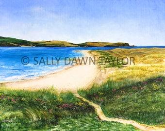 Beach on Camel Estuary, Daymer Bay, (Cornwall) - Acrylic Painting A4 Print