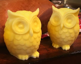 Lemony - Unique Soap Bar in cute Owl shape / handmade, one of a kind gift ideas Birthday Wedding - perfect for bird lovers - Lemon scented