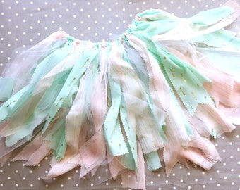 Scrappy tutu (custom options available); Baby tutu; fabric tutu; birthday tutu; pink/green/gold/white