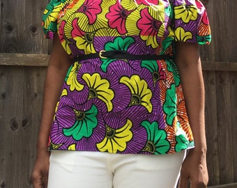 Ankara off Shoulder Top, African off shoulder Top with elasticated neckline, Summer short sleeve top, Off Shoulder Top, Dashiki, Bardot Top,