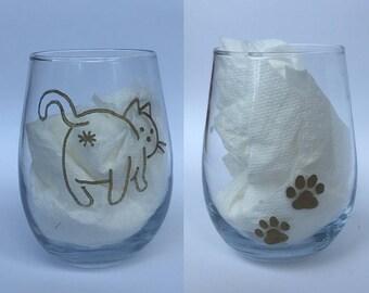 Cat Butt Wine Glass