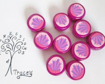 Handmade Pink Fan Polymer Clay Beads.