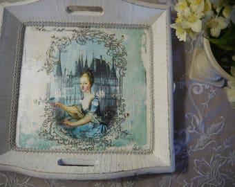 "Tray wood weathered 18th decor ""Duchess"""