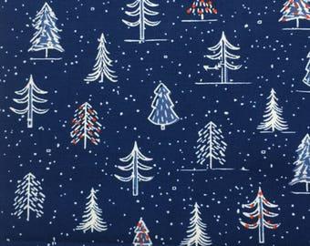 scrub hat pixie style - Christmas trees navy