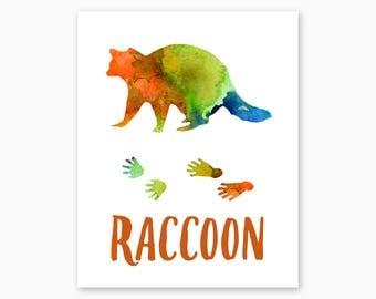 RUSTIC WALL DECOR, Raccoon Art, Raccoon Printable, Raccoon Tracks, Instant Download, Cabin Decor, Nature Decor, Watercolor Art, Woodland Art