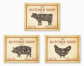 RUSTIC BUTCHER SHOP Signs, Kitchen Printables, Farmhouse Kitchen Decor, Farm Animals Art, Country Decor, Vintage Kitchen, Instant Download