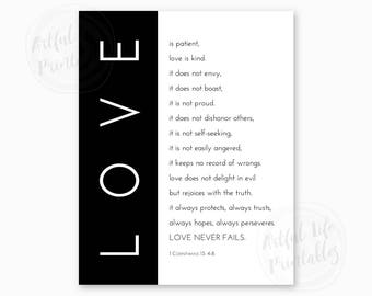 1 CORINTHIANS 13, Love Is Patient, Love Is Kind, Love Never Fails, Bible Scripture Wedding Gift, Bible Scripture Printable, Instant Download