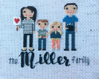 Cross Stitch Family 2nd anniversary Personalized Gift for Her. Statement Wife Gift cotton anniversary gift .