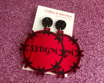 SSDGM ~ Barbed Wire Red Mirror and Black Glitter Acrylic Dangle Earrings
