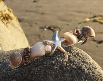 Shell barrette with starfish