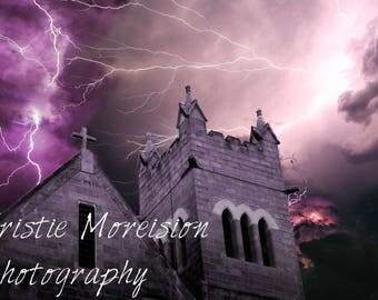 Church bell tower, Lightening storm Print
