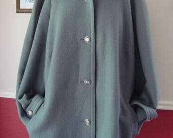 Vintage David Barry Pale Green Pure Wool Coat  (L/XL)