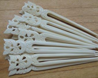 2 Prongs Flower Bone Hair Sticks, Hair Pin, Hair Fork, Hair Accessories HS44