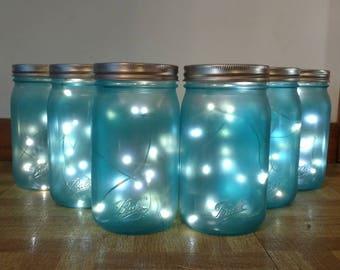 Mason Jar Fireflies-Mason Jar Lights-Mason Jar Fairy Lights-Beach House Mason Jars-Sea Glass Decor-Mason Jar Light Fixture
