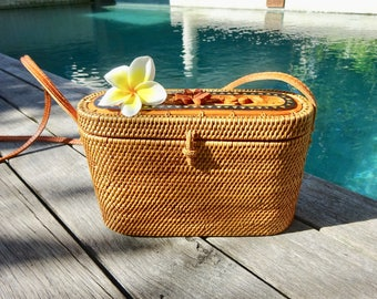 Mia Bucket Woven Rattan Bag, Shoulder Bag, Crossbody Bag, Basket Bag