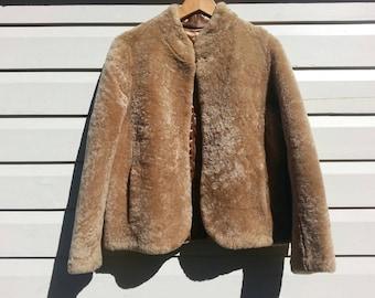 Shearling Sheepskin Wool/Fur Coat With Satin Lining