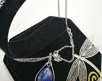 Gorgeous Lapis Lazuli Natural Gemstone pendant and necklace