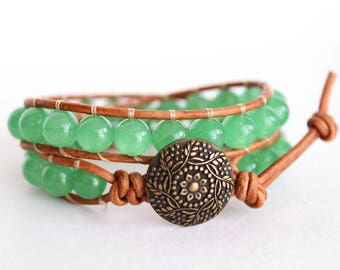Green Aventurine Beaded Leather Wrap Bracelet, Boho Wrap Bracelet, Double Wrap Bracelet Leather, Beaded Wrap Bracelet, Leather Bracelet Bead