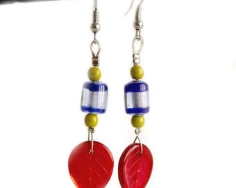 Earrings red blue and green
