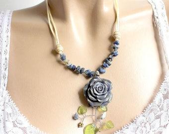Purple sodalite Necklace blue cold porcelain flower