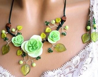 Set three green neon flowers