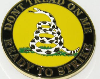 XL Gadsden Don't Tread On Me Metal Logo - Vhb Self Stick