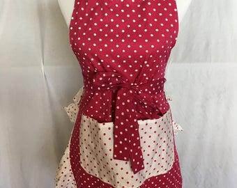 Pink and white polkadot print woman's apron