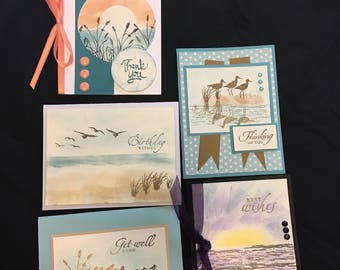 Seashore Greeting Cards (Set of 5) Group A