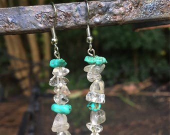 Clear Crystal Dangle Earrings with Turquoise Stone