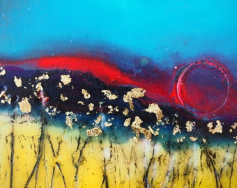 Just Over the Hill, original encaustic painting, wall art on cradled panel