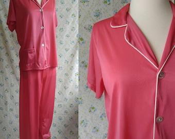 1960s coral pink pajama set