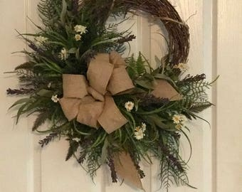 Handmade Grapevine Wreath for Spring or Summer, Heather, Burlap, and Daisies