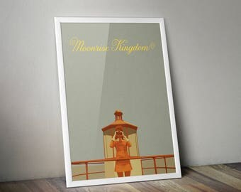 Moonrise Kingdom Minimalist Print - Moonrise Kingdom Poster Print, Moonrise Kingdom Wall Art, Wes Anderson Minimalist Art Print.
