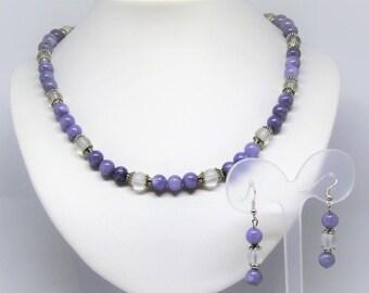 Necklace and earrings rock-crystal quartz gemstones and blue spunge quartz