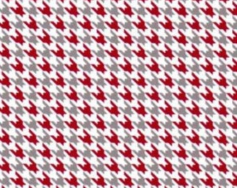 Red Gray and White Mini Houndstooth Fabric by Fabric Finders - 100% Cotton