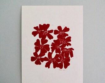 Summer flower floral print in red linocut lino handmade