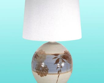 Vintage California Pottery Lamps with Linen Shade