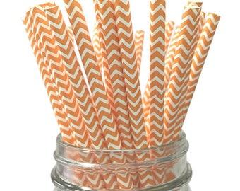 Peach Chevron 25pc Paper Straws