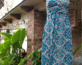 Tribal Empire Waist Cris- Cross Blue Beach Dress size 4