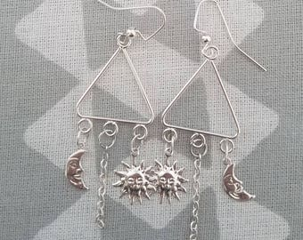 Sun and Moon Triangle Earrings