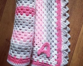 Custom crochet baby blanket, your choice of colours, name, personalisation (up to 10 letters)